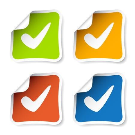 the concept is correct: vector positive checkmark stickers