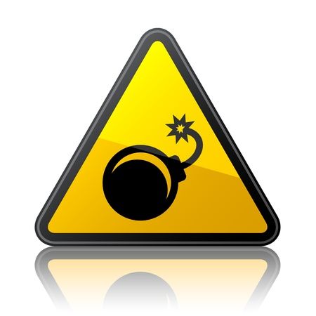 hazard damage: vector bomb warning sign Illustration