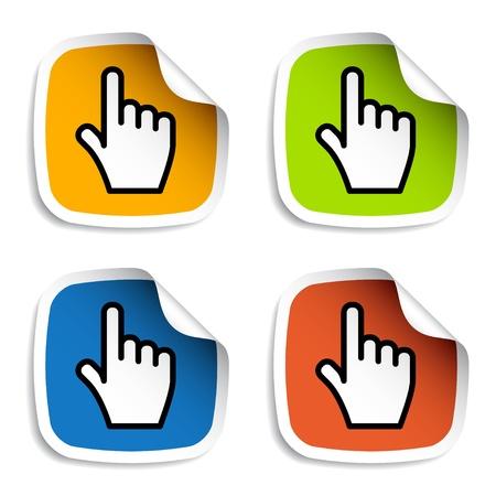 klik: vector vloeiende cursorbesturing de hand stickers Stock Illustratie