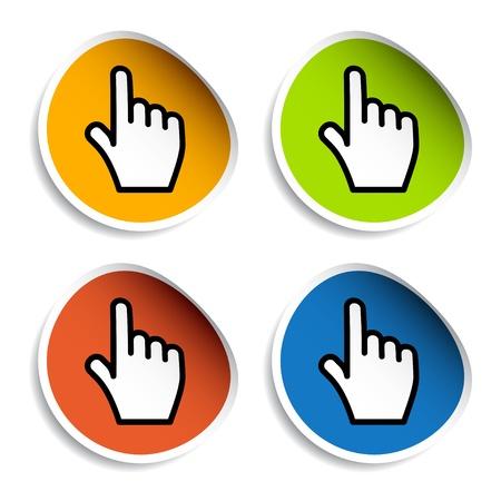 smooth shadow: vector smooth cursor hand stickers Illustration