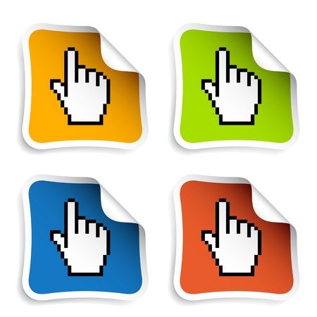 vector pixel cursor hand stickers Vector