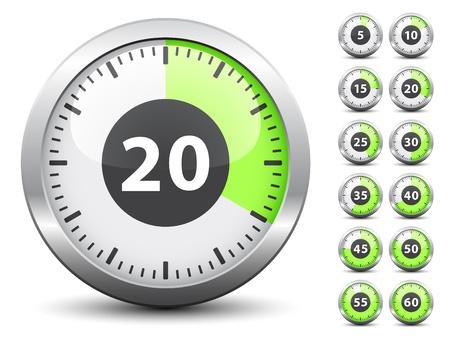 Minuterie Vecteur - temps de changement facile chaque minute Vecteurs