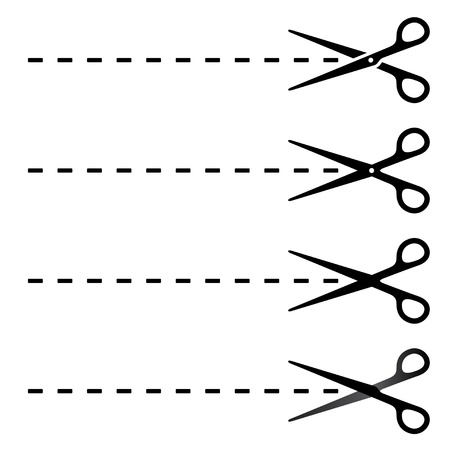 simple: Vector scissors cut lines