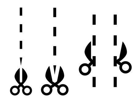 simple line drawing: Vector scissors cut lines