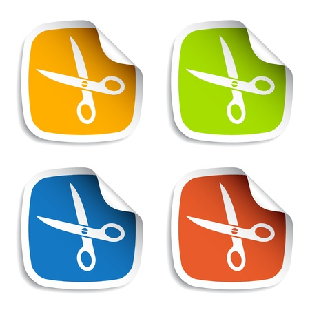 vector scissors stickers Vector
