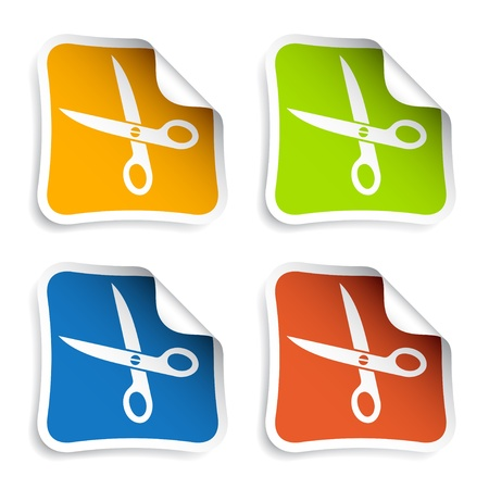 metal cutting: vector scissors stickers