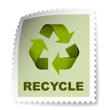 vector posterior reciclaje sello Ilustración de vector