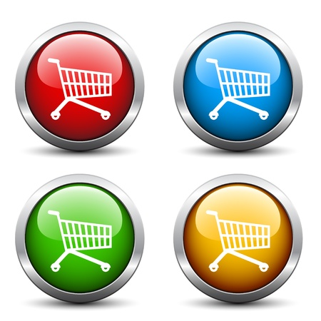 supermarket shopping cart: Botones vector comprar