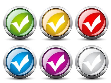Vector positive checkmark buttons Vector