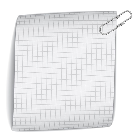 notebook design: vector squared paper with paperclip Illustration
