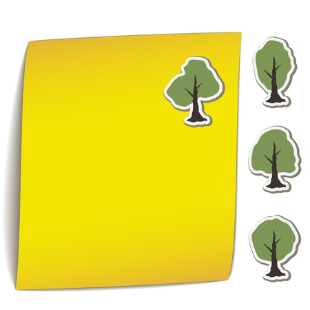 attachments: vector yellow bend paper with tree magnet