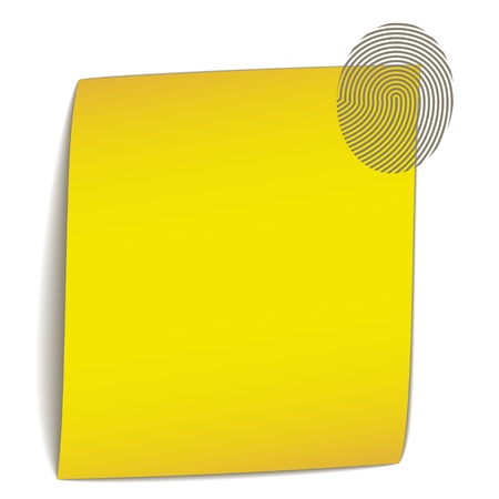 fingerprint card: vector yellow bend paper with fingerprint Illustration