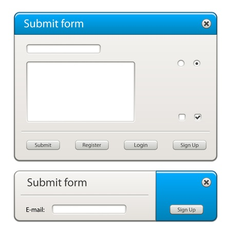 rectangle button: vector form elements - easy change any width or height for your layout
