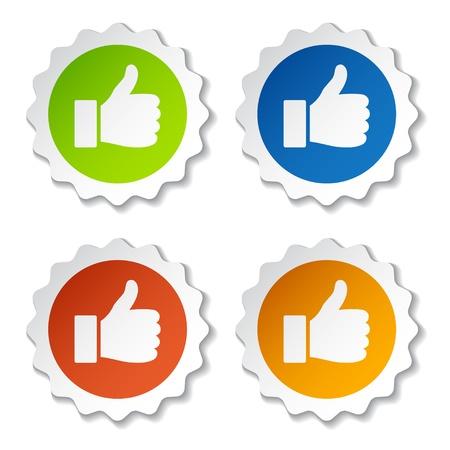 positief: vector duim omhoog stickers Stock Illustratie