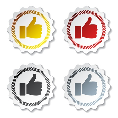 approval icon: vector thumb up stickers Illustration