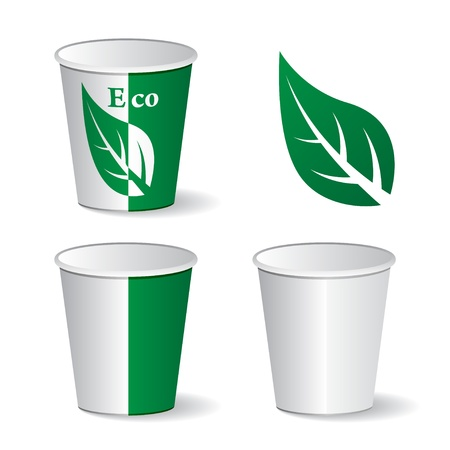 disposable: vector eco paper cups Illustration