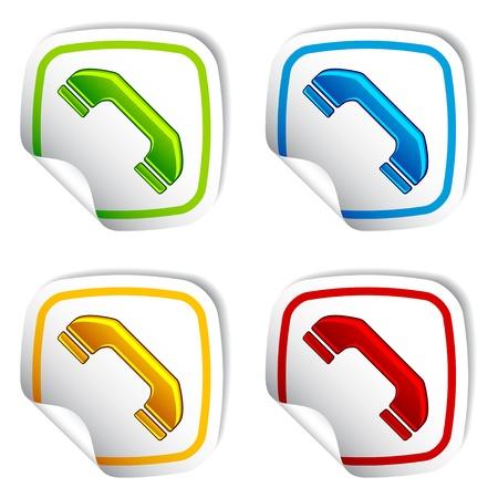 vintage telefoon: vector telefoonhoorn stickers Stock Illustratie