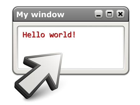 window display: vector aiming arrow with computer window