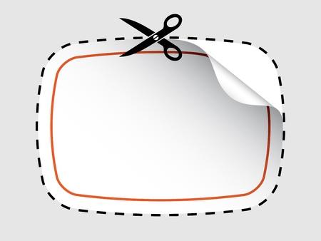 cutting sticker: vector scissors cutting sticker Illustration