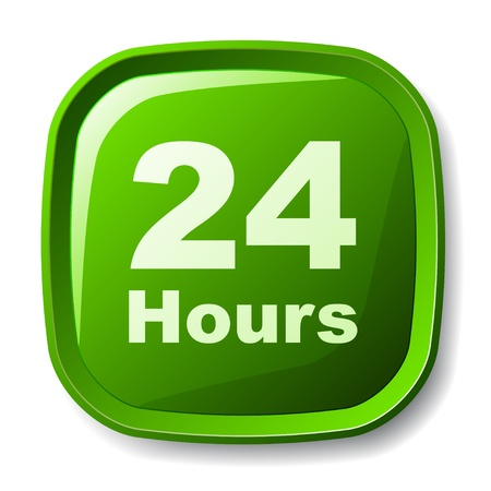 available time: vector green 24 hours button Illustration