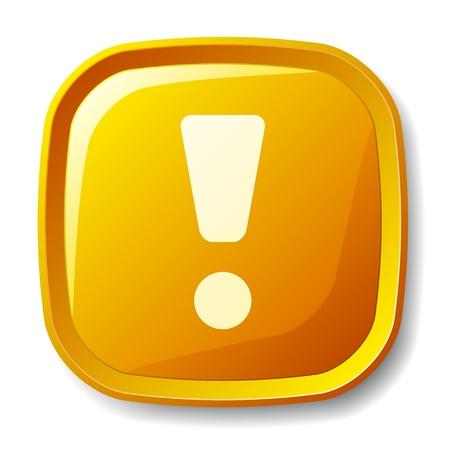 vector de exclamación amarillo marca el botón