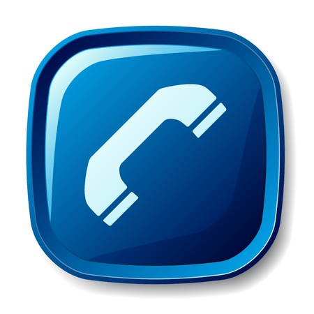 web icons communication: vector blue telephone receiver button