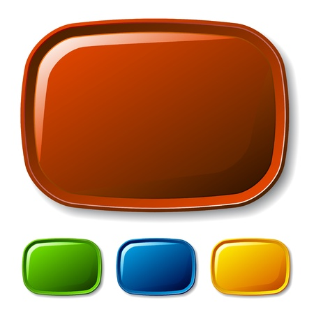 rectangle button: vector blank rounded glossy buttons