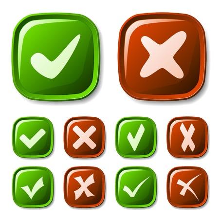 garrapata: vector de la marca de verificación colección de botones de