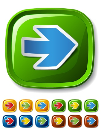 vector square buttons with peeling arrow stickers Vector