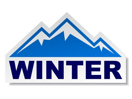 mountain holidays: vector winter mountain sticker Illustration