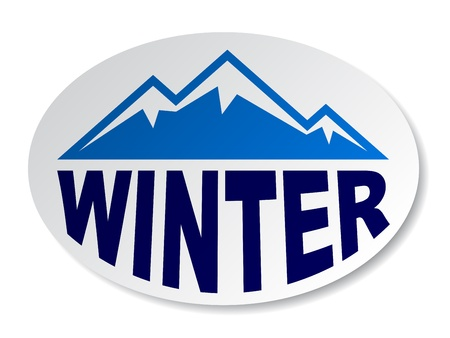vector winter mountain oval sticker Vector