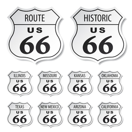 interstate: vector route 66 black and white stickers