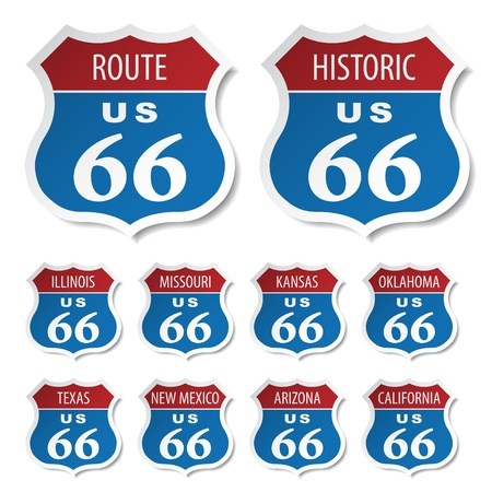 vector route 66 colored stickers Stock Vector - 11565873