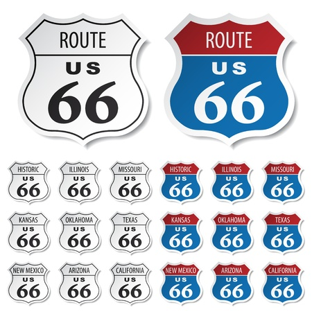 interstate: vector historic route 66 stickers