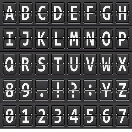 scorebord: vector alfabet van zwarte mechanische paneel