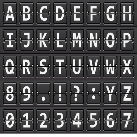 Vektor-Alphabet von schwarzen mechanischen Panel