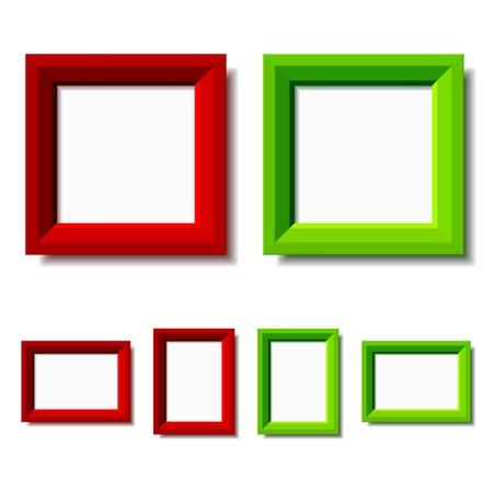 photo gallery: vector de color rojo y verde, marcos de fotos Vectores