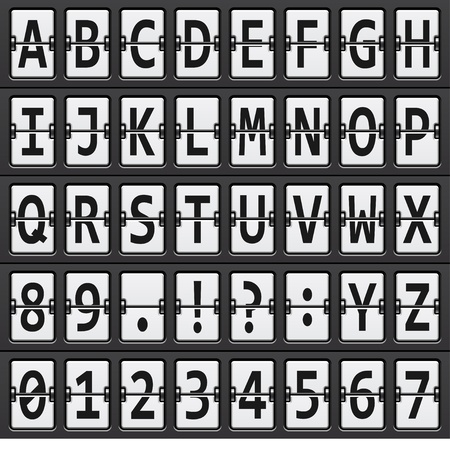 departure: vector alphabet of black and  white mechanical panel