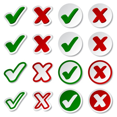 yes: vector checkmark stickers Illustration