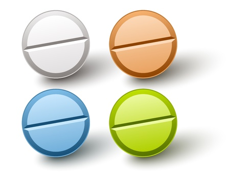 doctor with pills: vector stylish colored pills