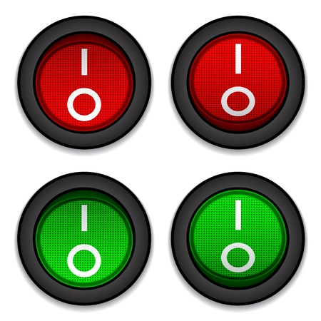 stop button: vector circle toggle power switches