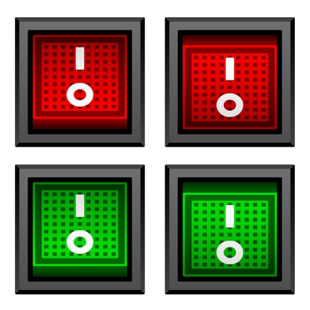 shutdown: vector square toggle power switches Illustration