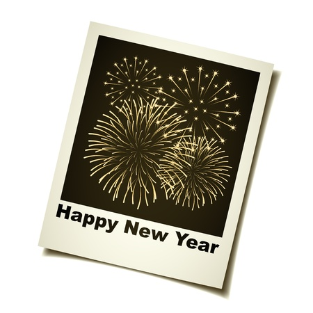 obsolete: vector new year fireworks instant photo Illustration
