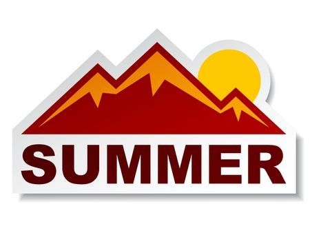 mountain holidays: vector summer mountain sticker Illustration