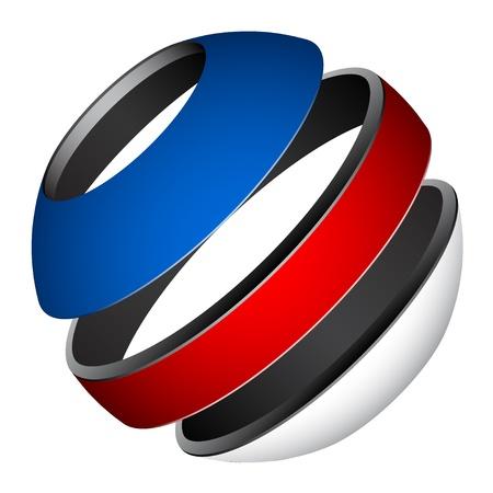 red sphere: vector patriotic tricolor globe