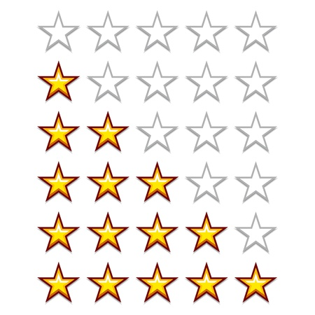 five stars: vector simple yellow rating stars Illustration