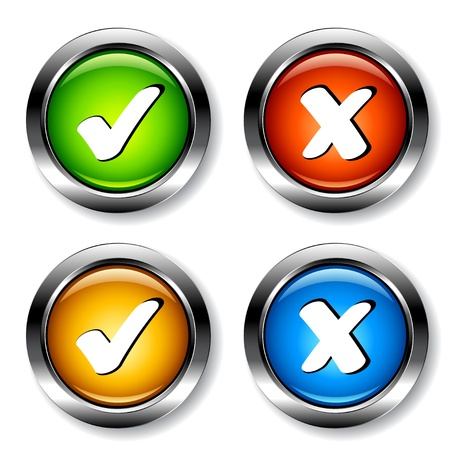 tick: vecteur coches chrome boutons Illustration