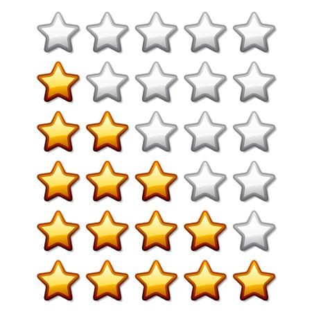 star rating: vettore stelle di valutazione d'oro lucido Vettoriali