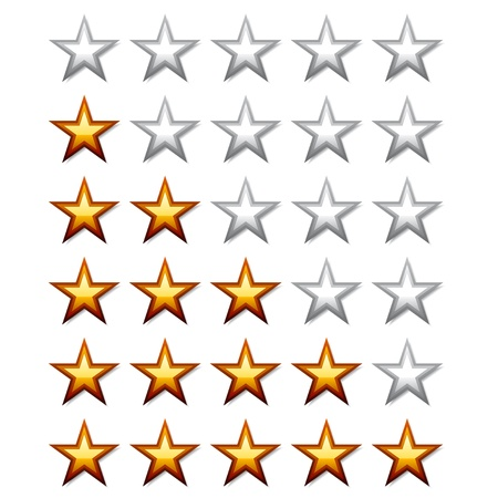 five star: vector golden shiny rating stars