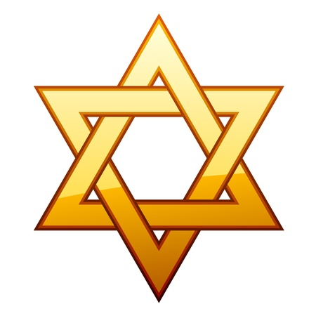 jewish faith: vector golden David star
